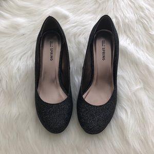Black Sparkle Heels, size 6